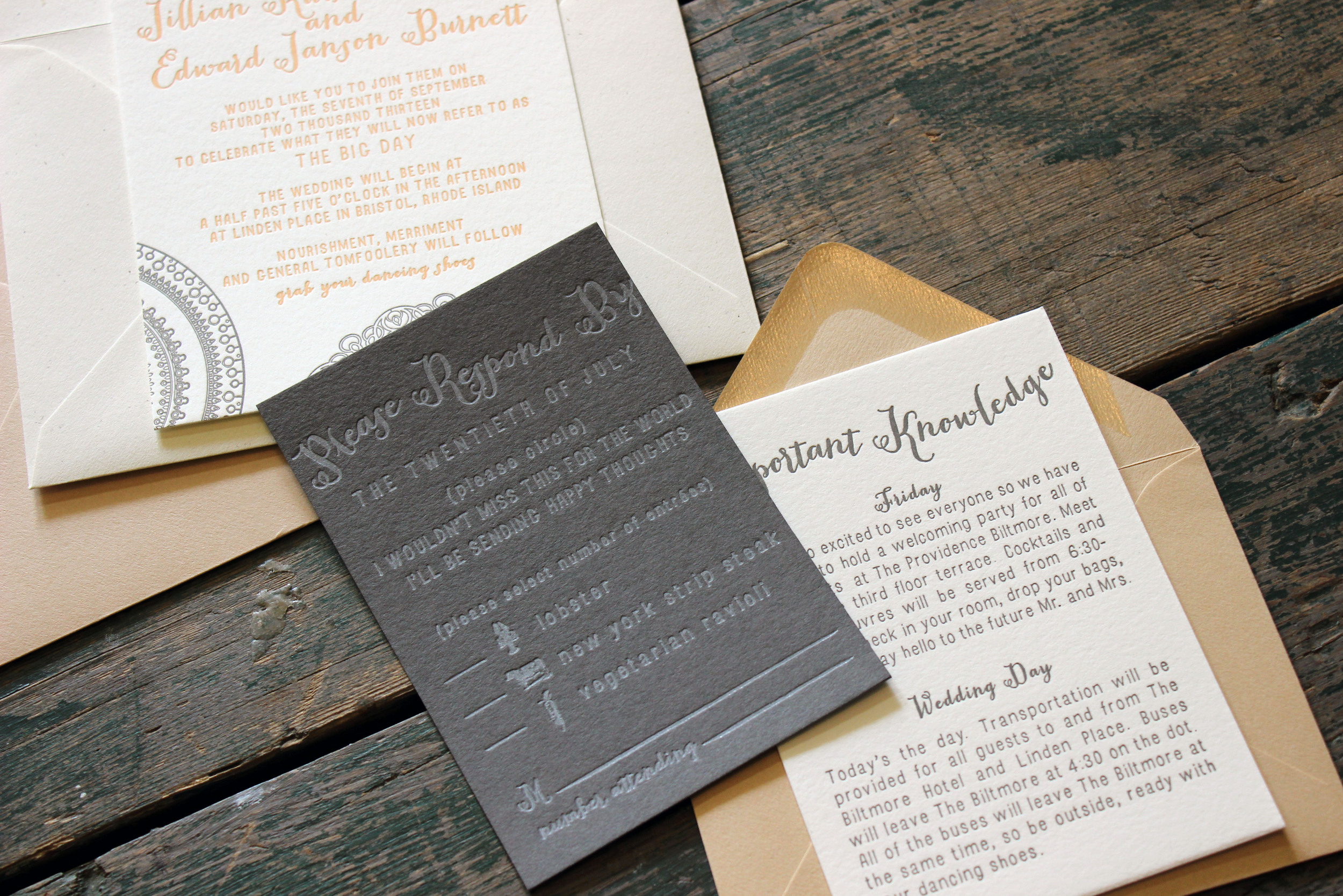 After Carrie and Taylor's Style Me Pretty feature, my inbox was full of inquiries. Jillian and Edward's stationery suite became one of the by products of that feature. Jillian had a vision of a delicate lace with a hint of a modern touch. The lace with the peach ink complimented the chalk-like ink on black paper. It was a mix of colors, both subtle and bold, that put this suite in this old favorites list.