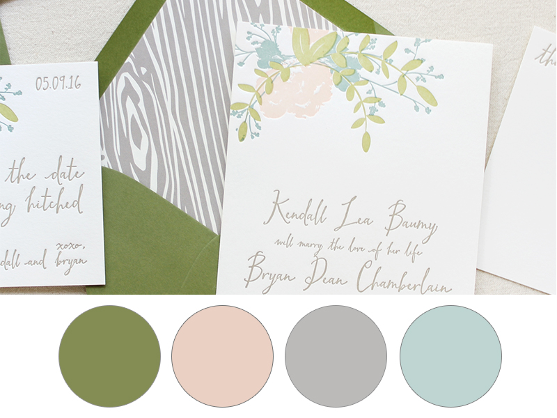 olive, pale pink, oatmeal grey, light blue