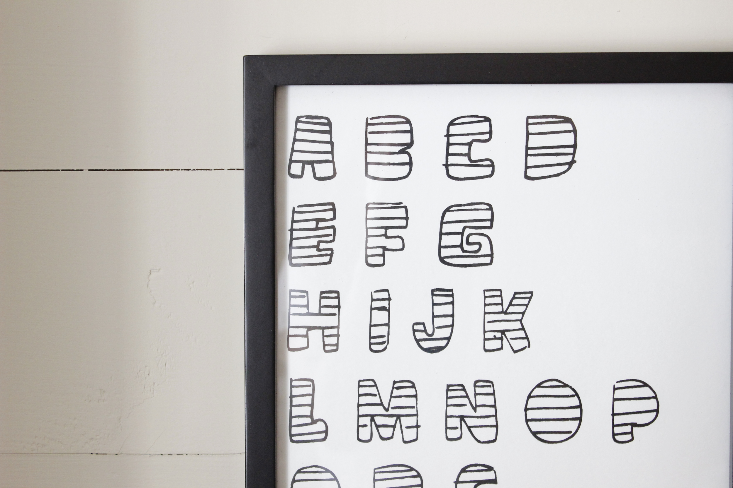 In honor of my obsession with the alphabet, this print was created for any place in the home. My toddler decided to color in his letters (not so much inside the lines) to create his own version.  SEE IT IN THE SHOP.