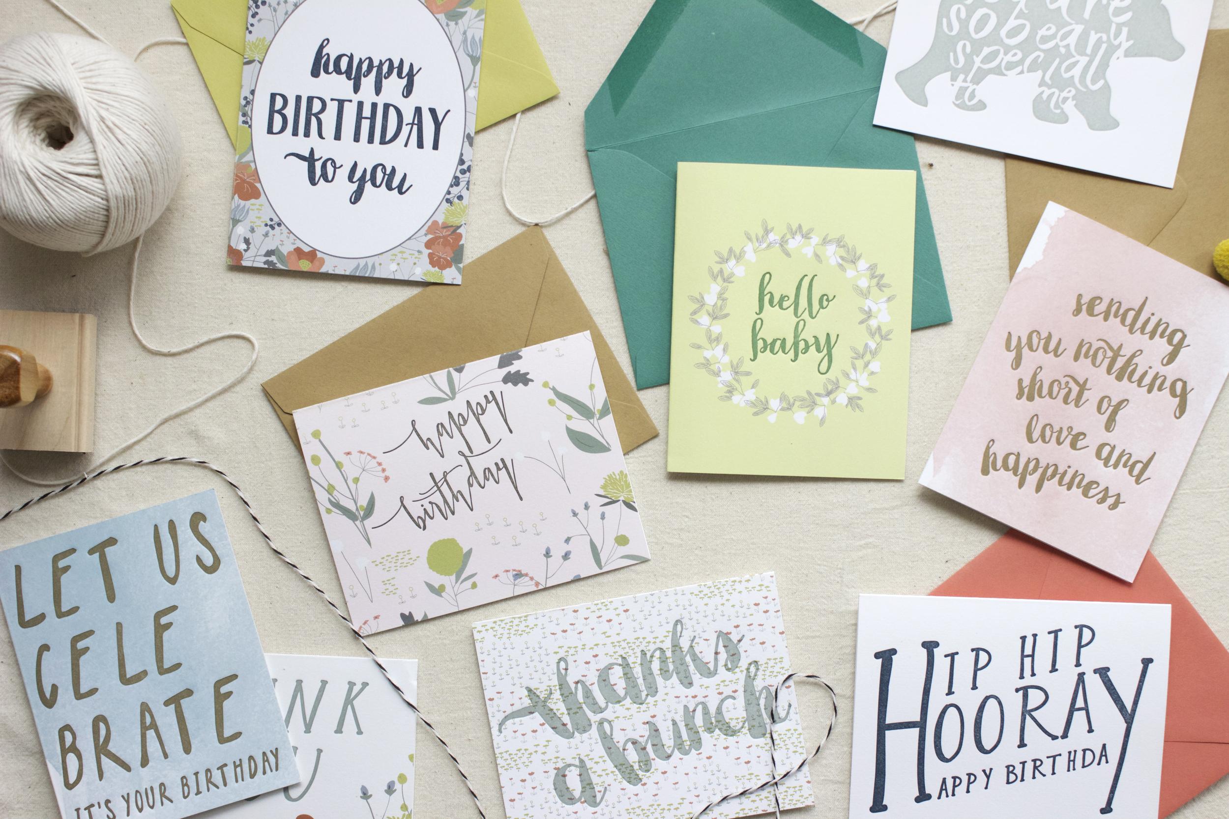"LETTERPRESS GREETING CARDS   digital printing + letterpress printing, 4.25x5.5"" w/envelope"