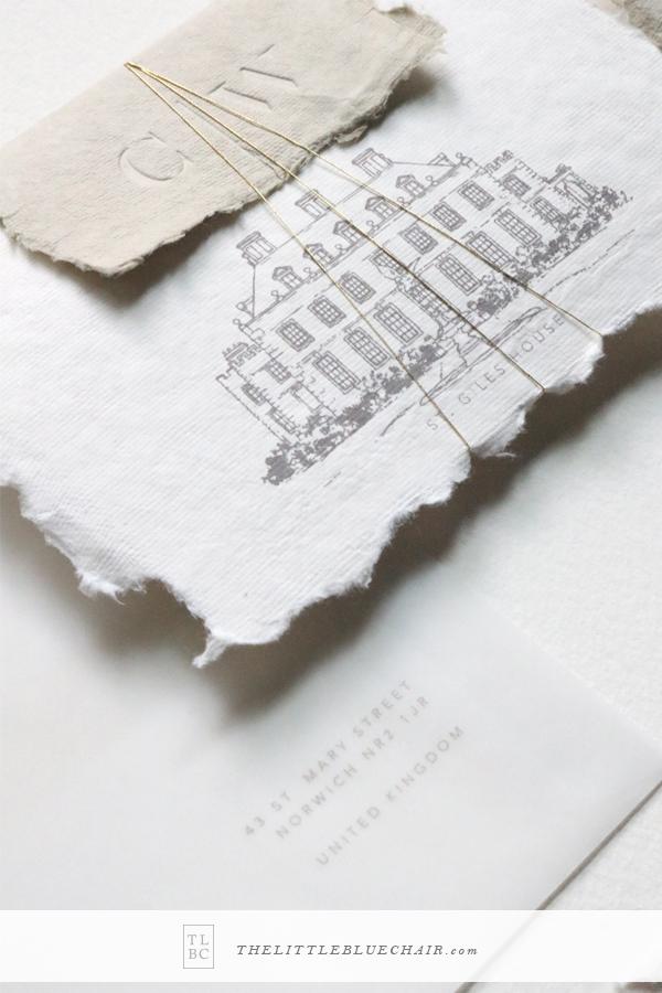 Organic Wedding Stationery || custom venue sketch || handmade paper wedding invitations || The Little Blue Chair by Hope Johnson || thelittlebluechair.com/theonepageweddingplanner