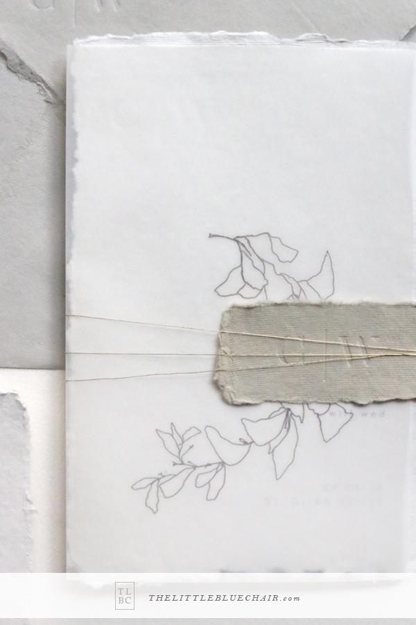 Organic Wedding Stationery || custom venue sketch || vellum wedding invitations || handmade paper wedding invitations || The Little Blue Chair by Hope Johnson || thelittlebluechair.com/theonepageweddingplanner
