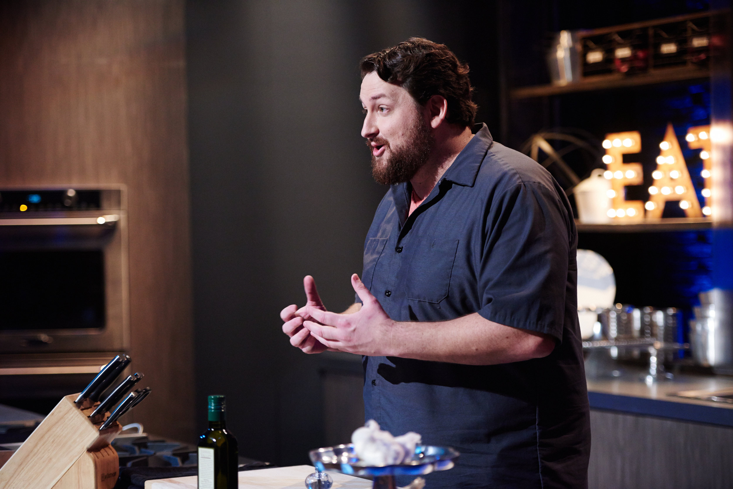 Jay Ducote speaks to the camera on Food Network Star season 11.