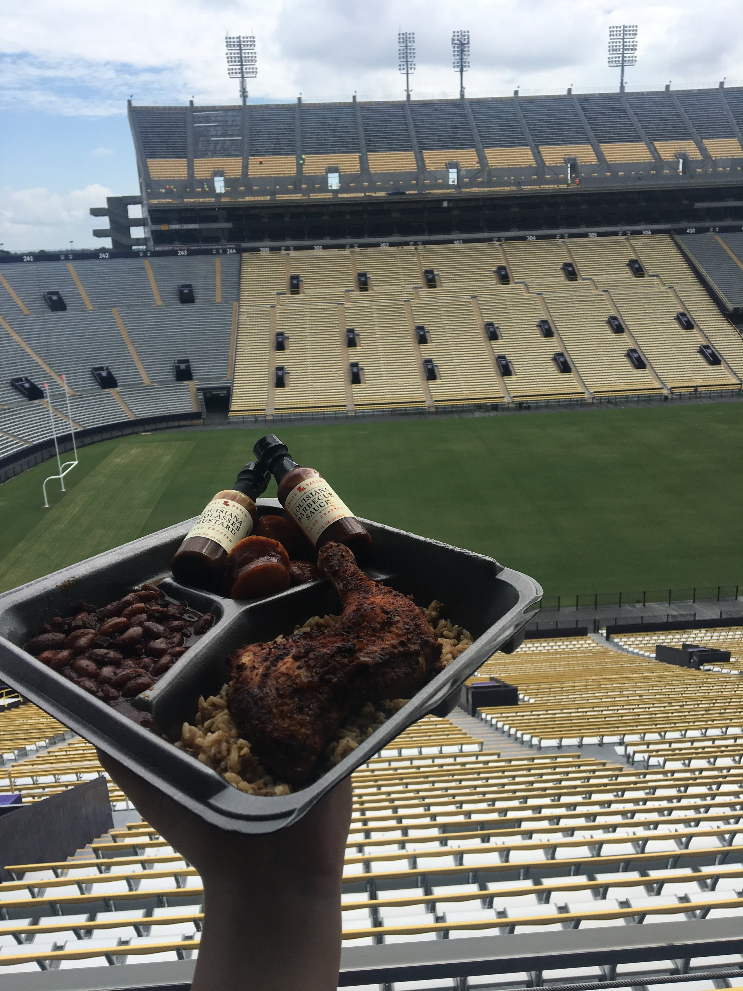 Jay D's BBQ Meal Served in Tiger Stadium after LSU's Graduation
