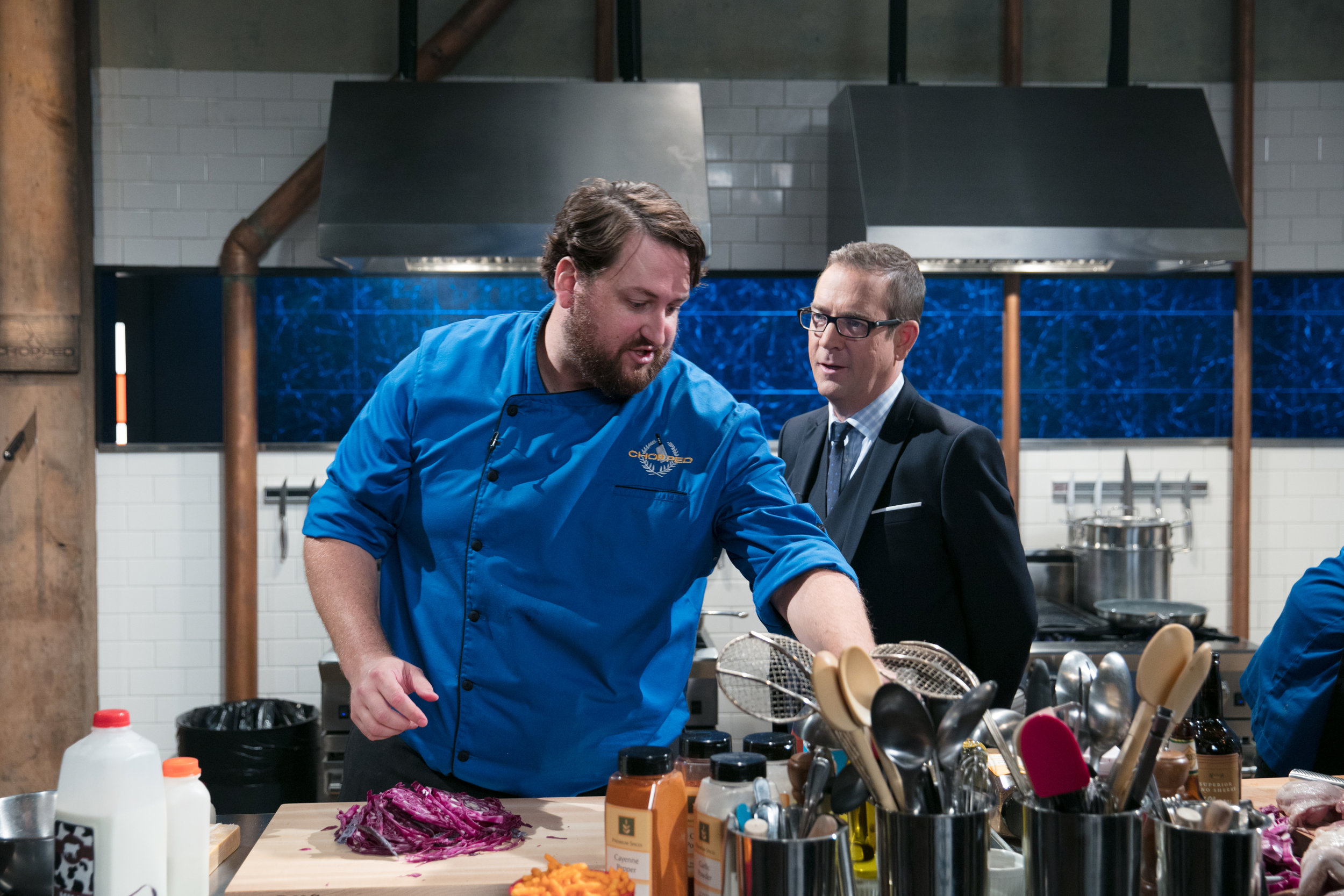 Chef Jay Ducote with Host Ted Allen on  Chopped Gold Medal Games.jpg