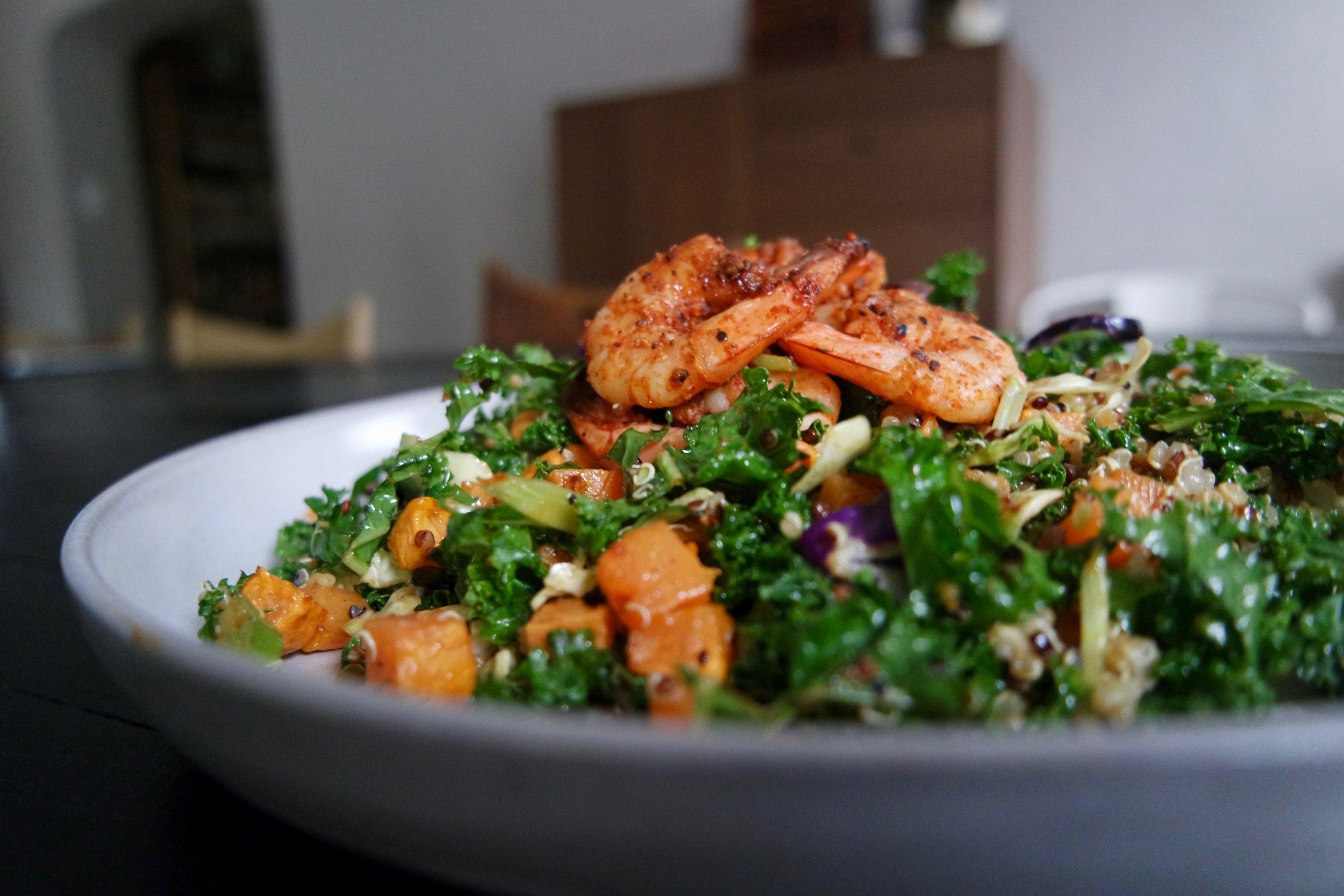 Cruciferous Crunch Shrimp Salad