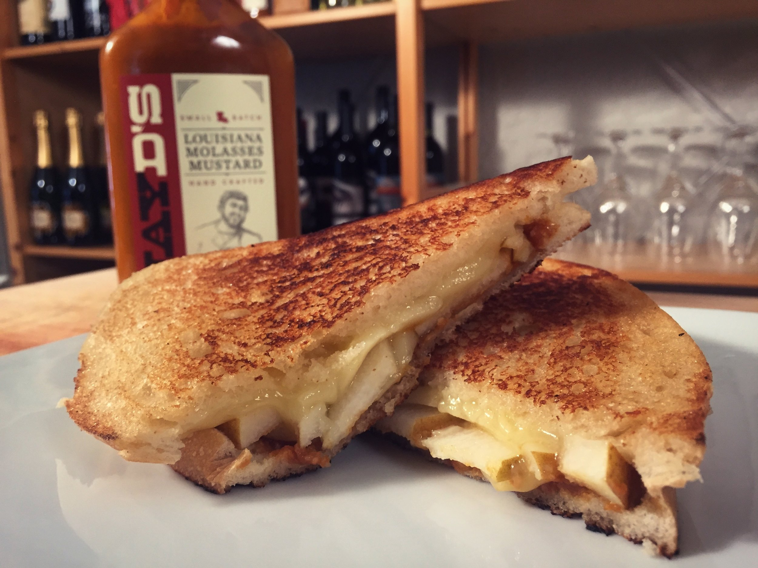 Havarti and Pear Grilled Cheese with Molasses Mustard