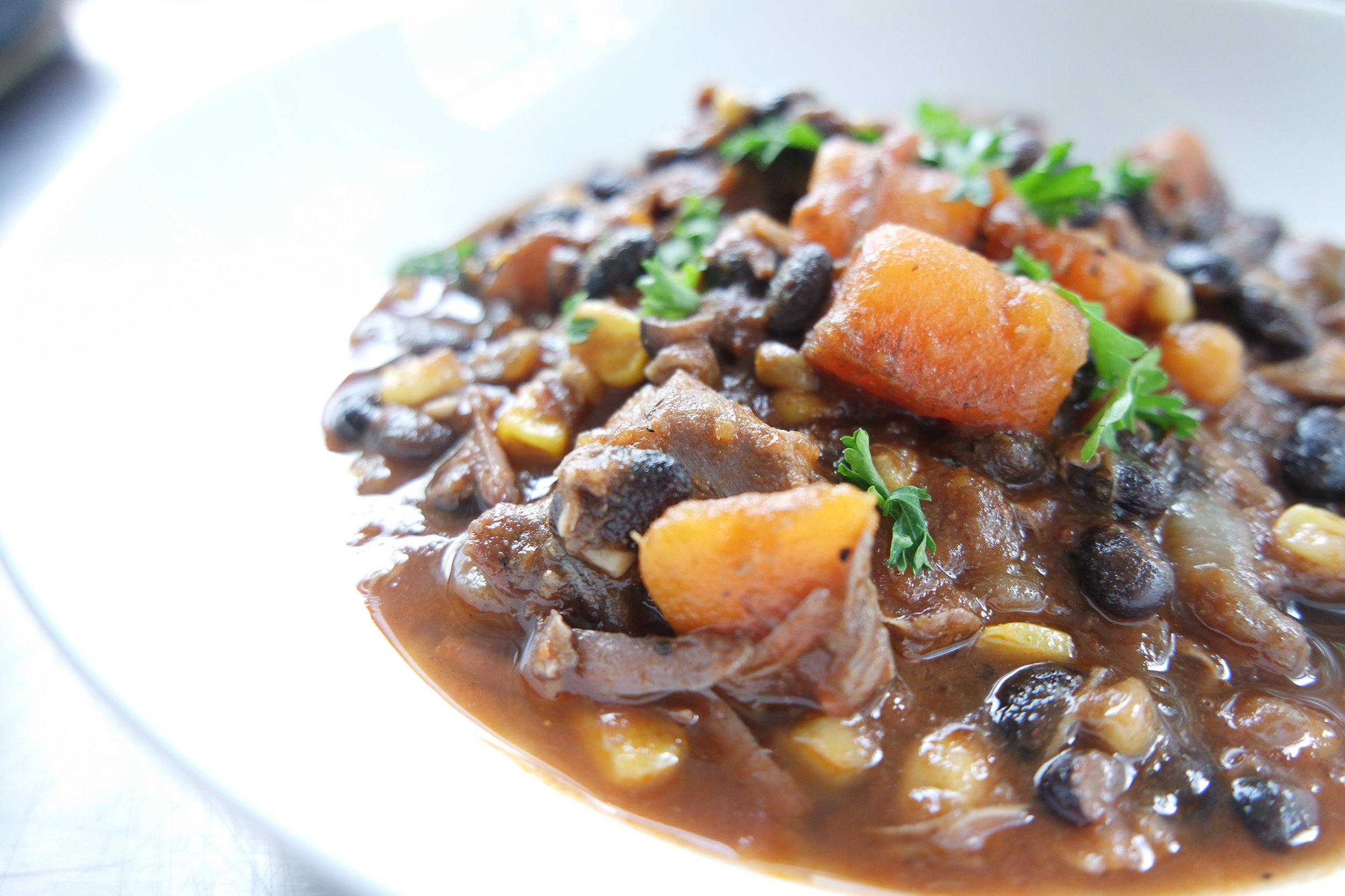 Turkey Chili with Sweet Potatoes and Black Beans