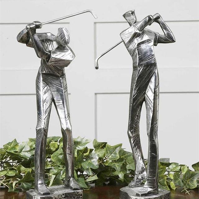 For the avid golfer in your life. Our Practice shot set features two sculptures in metallic silver with a matte black glaze.  Visit the link in bio to get your set! ⛳