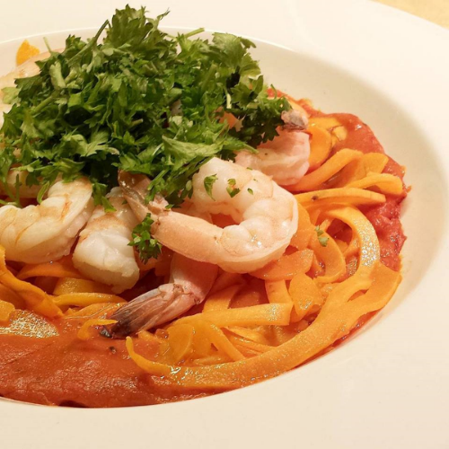 Swoodles with Vodka Sauce and Shrimp