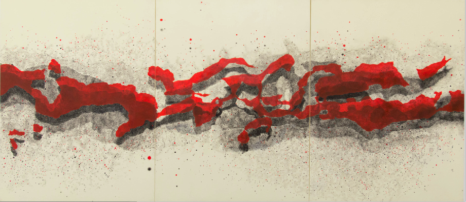 Milky Way (Northern Hemisphere, Triptych) Graphite and Oil on Linen Sheet 157 x 77 cm 2014