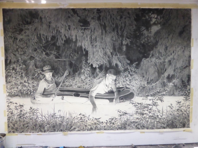 Grafite sobre papel, 200x450 cm (imagem captada no atelier)