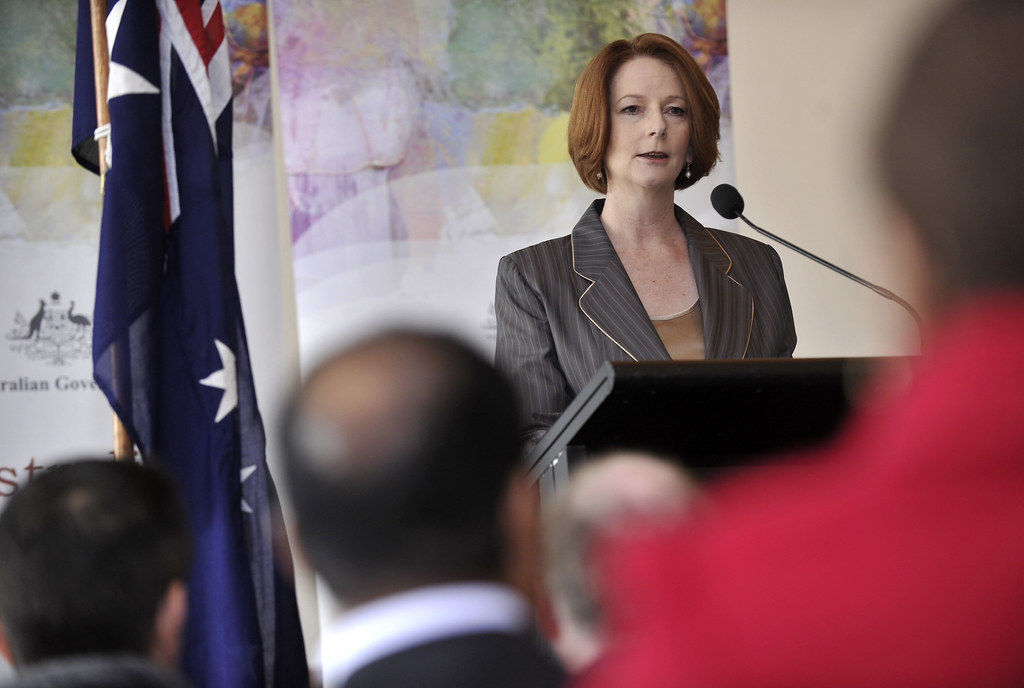 "Photo: Julia Gillard. "" Launch of the Australian Multicultural Council""  by   Kate Lundy     is licensed under  CC BY 2.0"