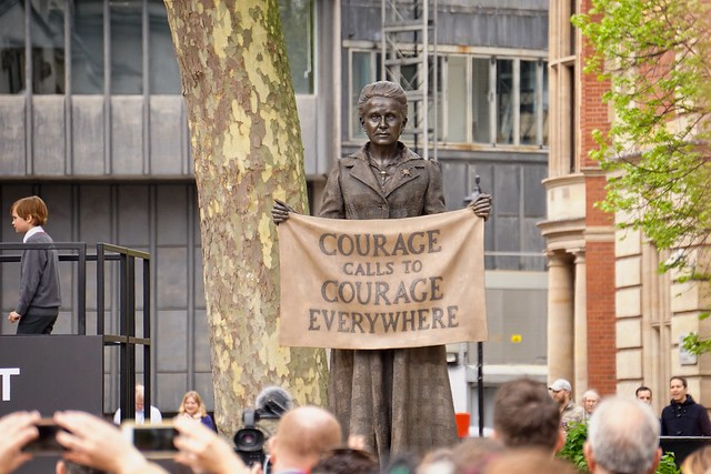 "Credit:  "" Millicent Fawcett Statue 02 - Courage Calls "" by   Garry Knight    .     is licensed under  Public domain ."