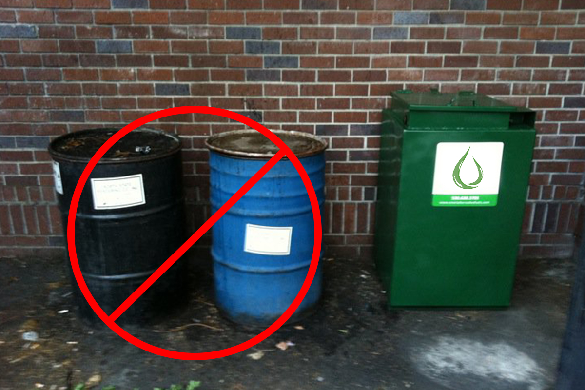 There is a right way to store used cooking oil, and a wrong way. If your restaurant oil storage looks like the drums on the left, maybe it's time to start AutoPilot Service with Smart Alternative Fuels?