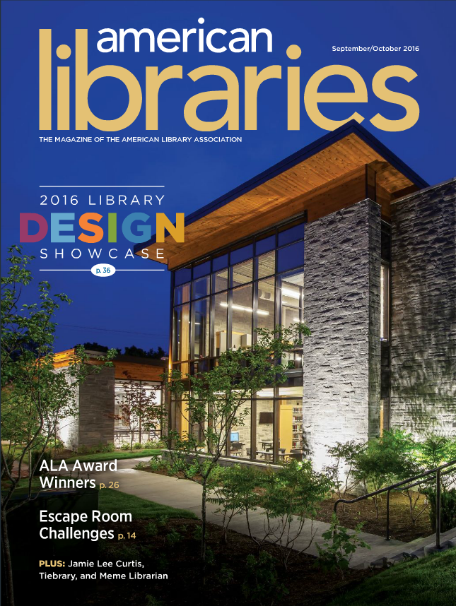 Cover of American Libraries, September/October 2016 Issue, where Koios is featured  (courtesy of American Libraries)