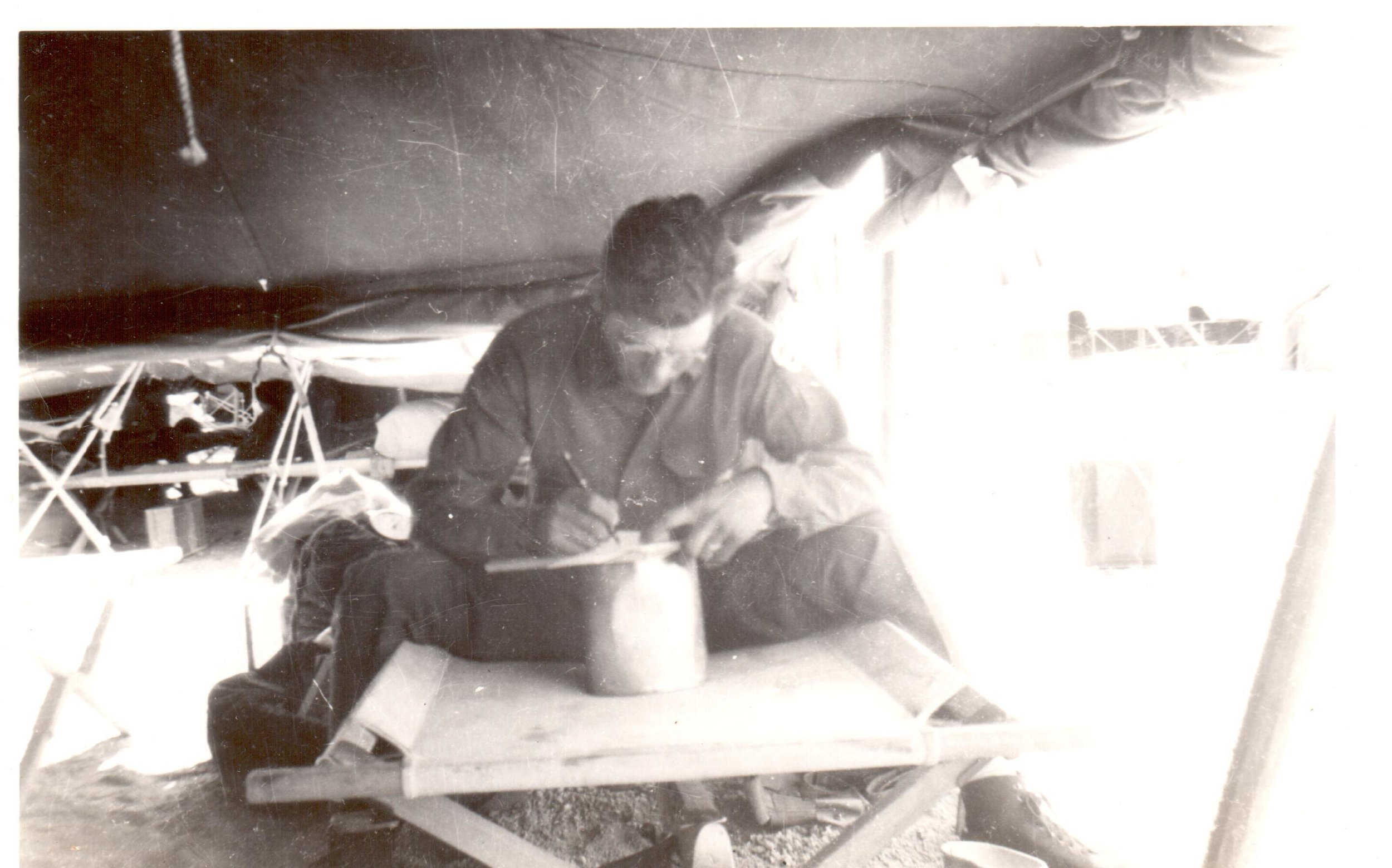 John McGraw, Fultonian and World War II veteran, writing to family back home while serving our country.
