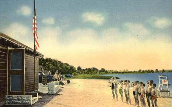 A postcard image of Stevenson Beach, once a recreation haven for young and old because of a Fultonian's dedication to our city.