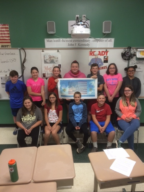 Students from Bill Cahill's Volney Elementary School sixth-grade classroom recently wrote essays about Fulton's Medal of Honor recipient Carlton Barrett.
