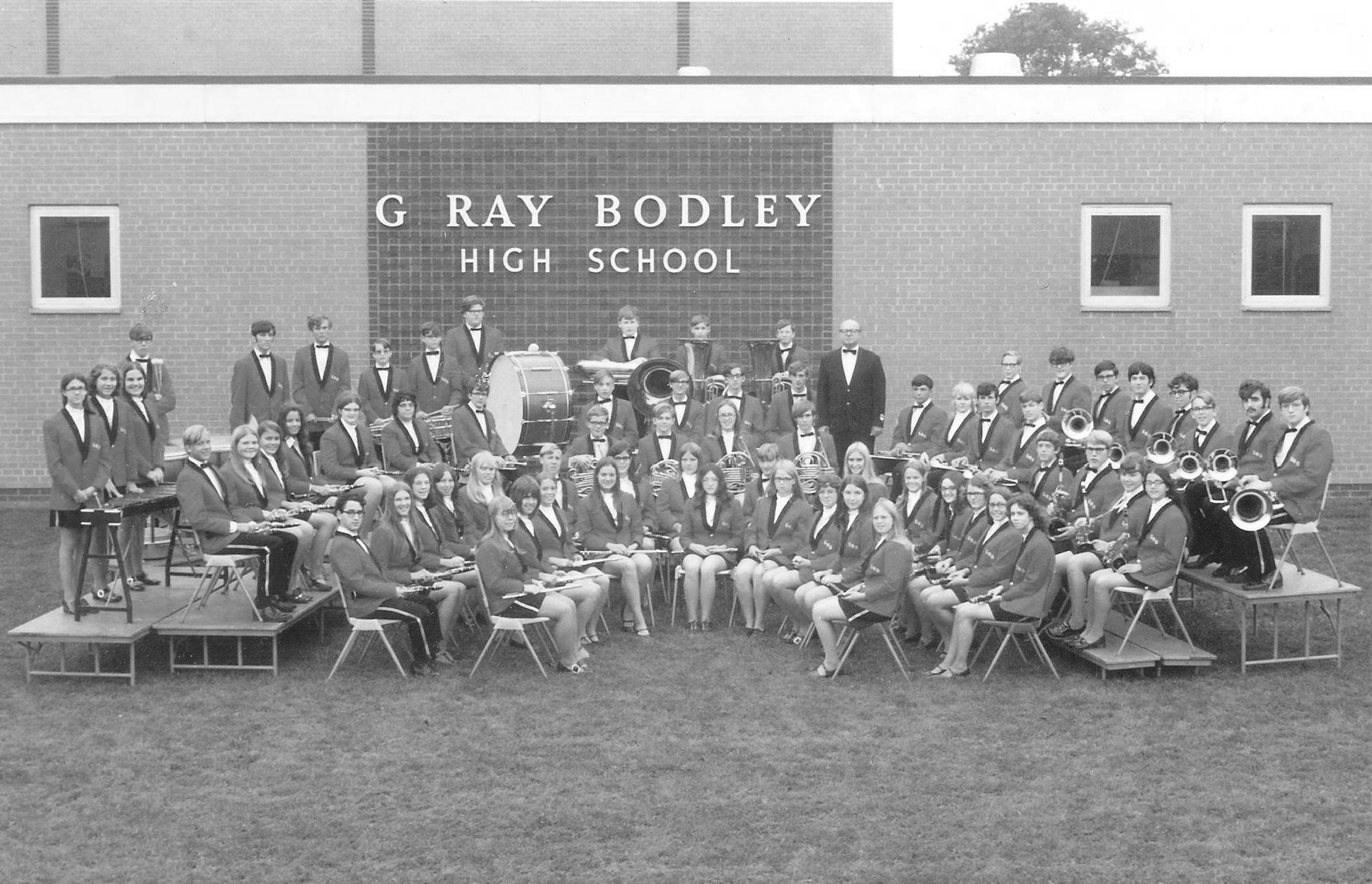 Richard Swierczek, shown here with members of the 1972 G. Ray Bodley High School Band, has been following the success of his students for many years.