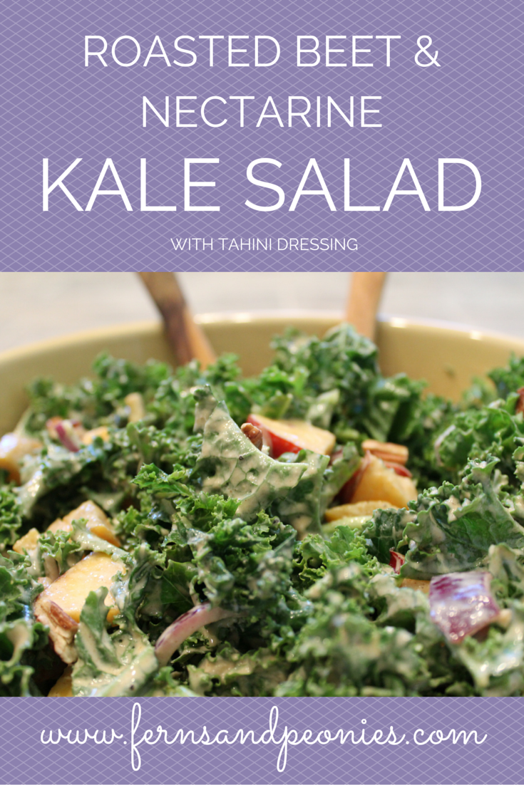 Roasted Beet and Nectarine Kale Salad with Tahini Dressing from Ferns & Peonies www.fernsandpeonies.com