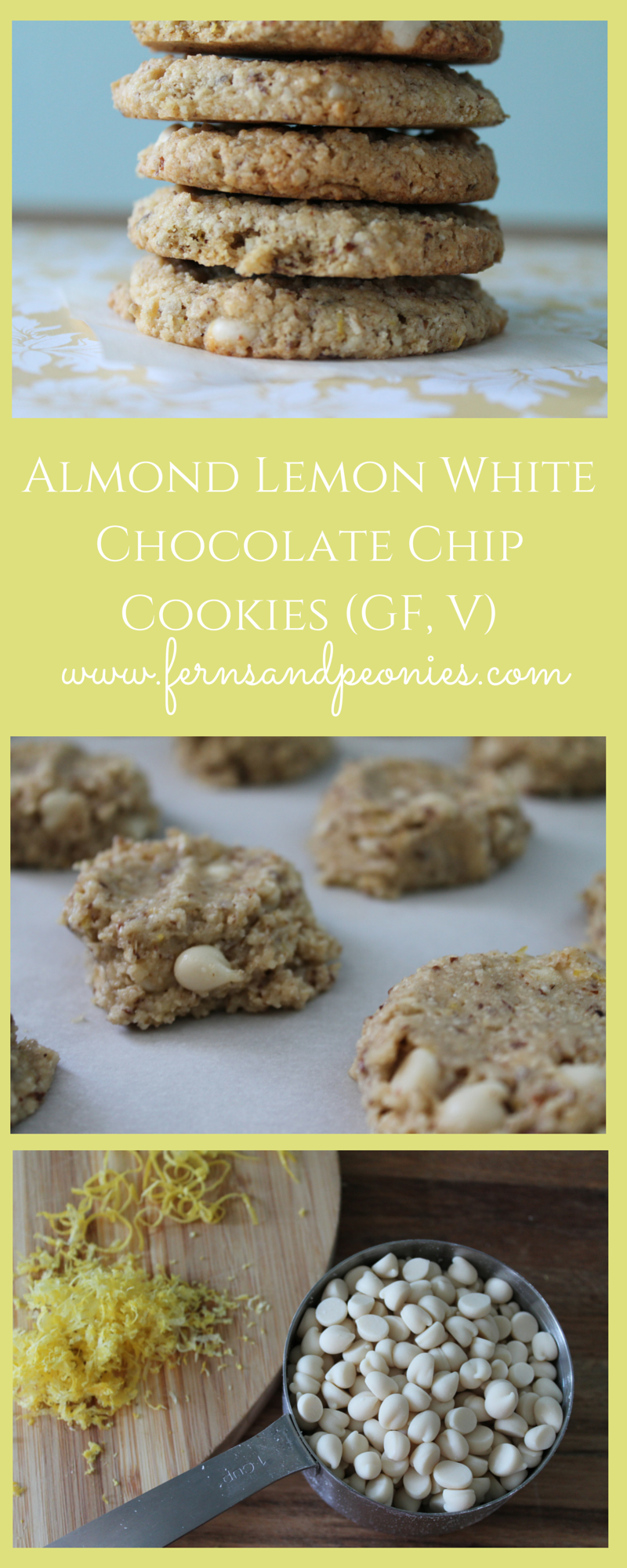 Chewy Almond Lemon White Chocolate Chip Cookies (GF,V) from www.fernsandpeonies.com