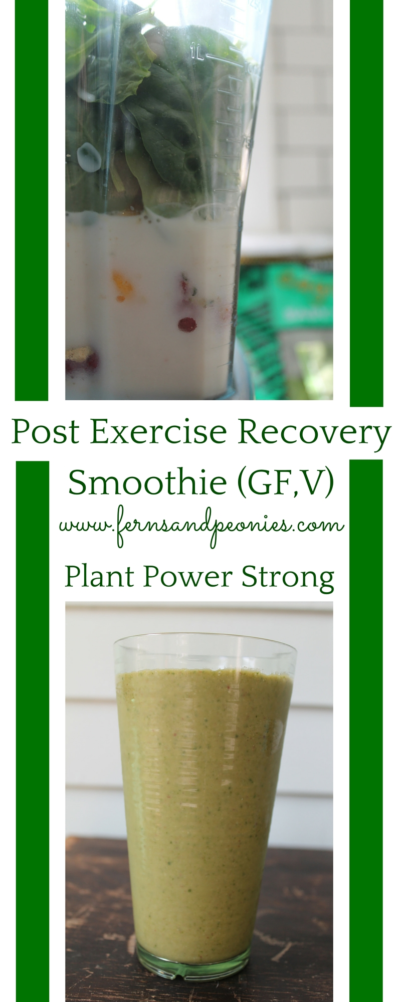 Post Exercise Recovery Smoothie (GF,V) - a plant powered superstar by www.fernsandpeonies.com
