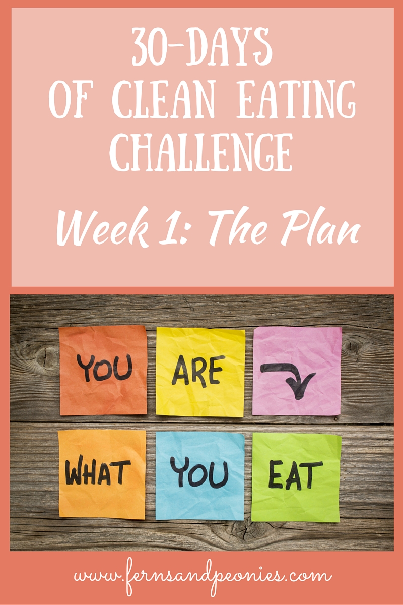 30-Days of Clean Eating Challenge. Brought to you by www.fernsandpeonies.com