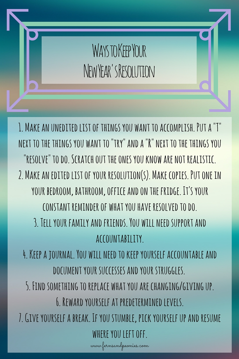 Steps to help you decide whether to make new year's resolutions or set intentions for the next year! Find me at www.fernsandpeonies.com