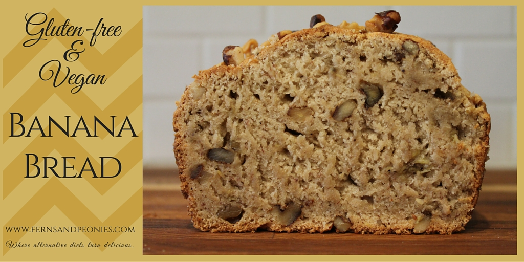 Gluten-free and Vegan Banana Bread by www.fernsandpeonies.com Where alternative diets turn delicious.