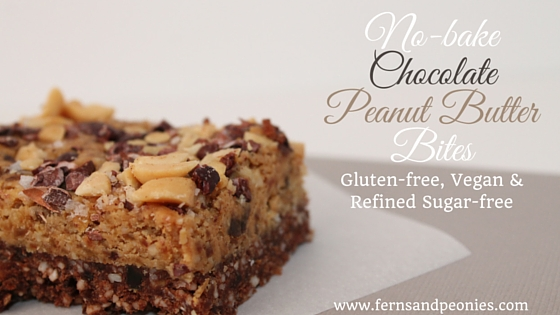 No-Bake, Almost Raw, Chocolate Peanut Butter Bites. Gluten-free, Vegan and Refined Sugar-free. Visit me at www.fernsandpeonies.com