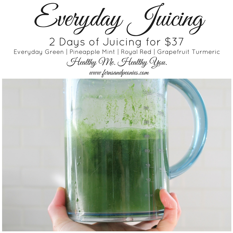 Everyday Juicing for under $40. Vegan and gluten-free. Includes recipes for everyday green, pineapple mint, royal red, and grapefruit turmeric. Find them at www.fernsandpeonies.com