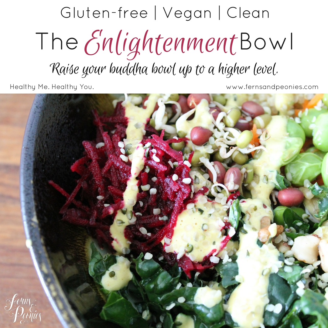 Meet the Enlightment Bowl—the big sister to the buddha bowl. The vegan, gluten-free and clean nutritional powerhouse will raise your buddha bowl up to a higher level. Find the recipe on my website and sign up for my free guide on 5 ways to a healthy and compassionate life. www.fernsandpeonies.com