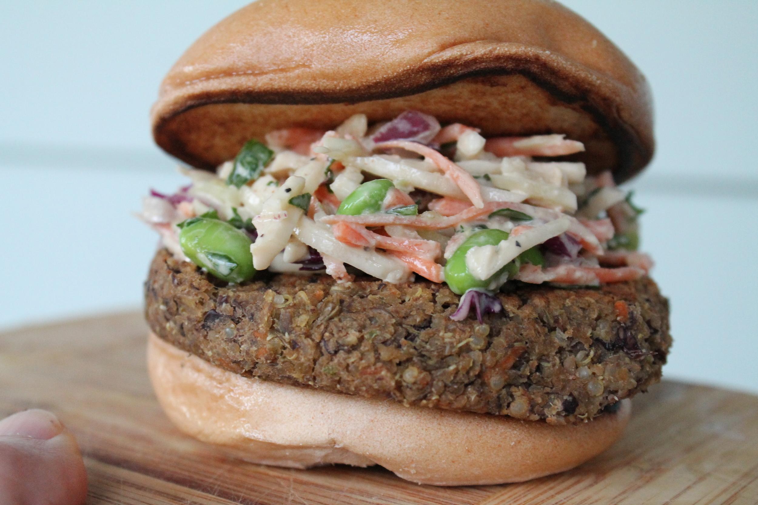 Served on a Schar gluten-free burger bun.