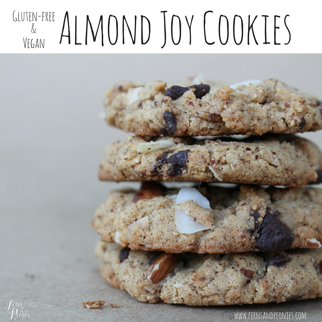 Gluten-free and vegan Almond Joy Cookies. Find the recipe and sign up for your free compassionate lifestyle download on the blog at www.fernsandpeonies.com