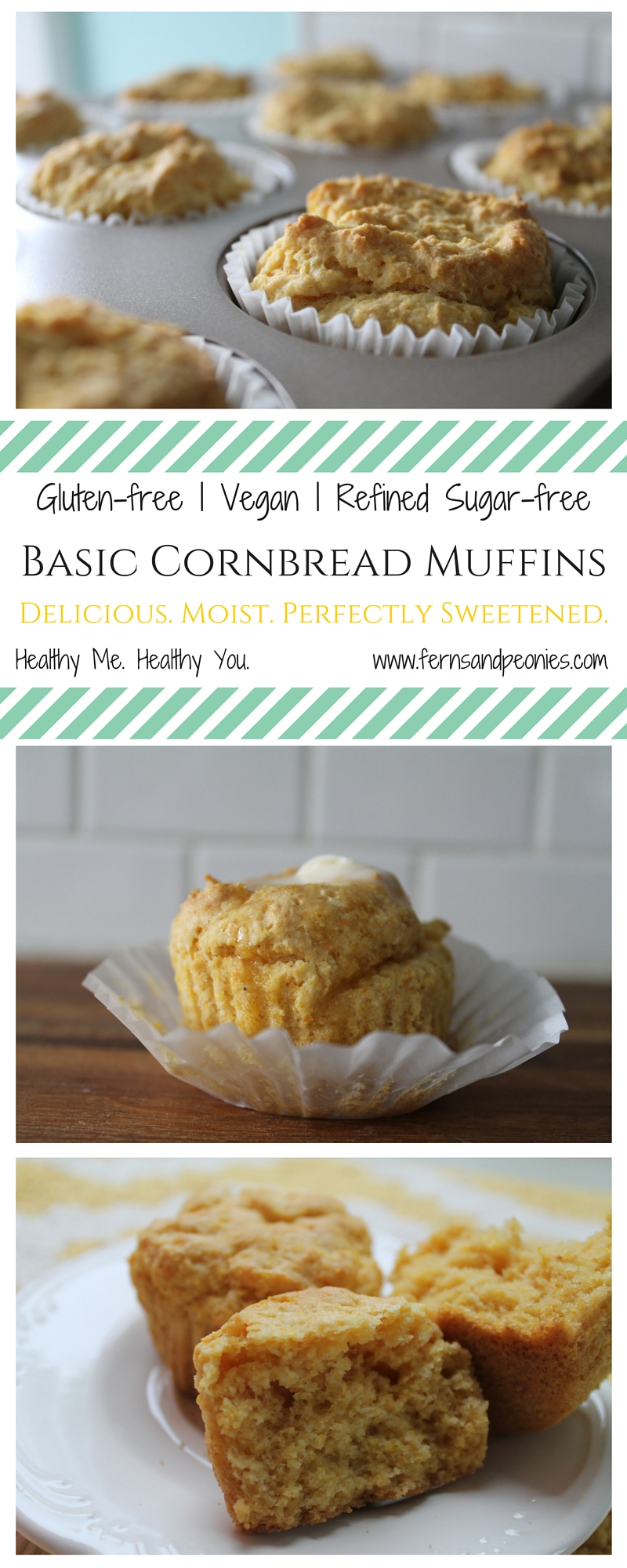 Moist and delicious basic cornbread muffins. This recipe is gluten-free, vegan, and refined sugar-free—but no one will ever know it. Read the blog at www.fernsandpeonies.com