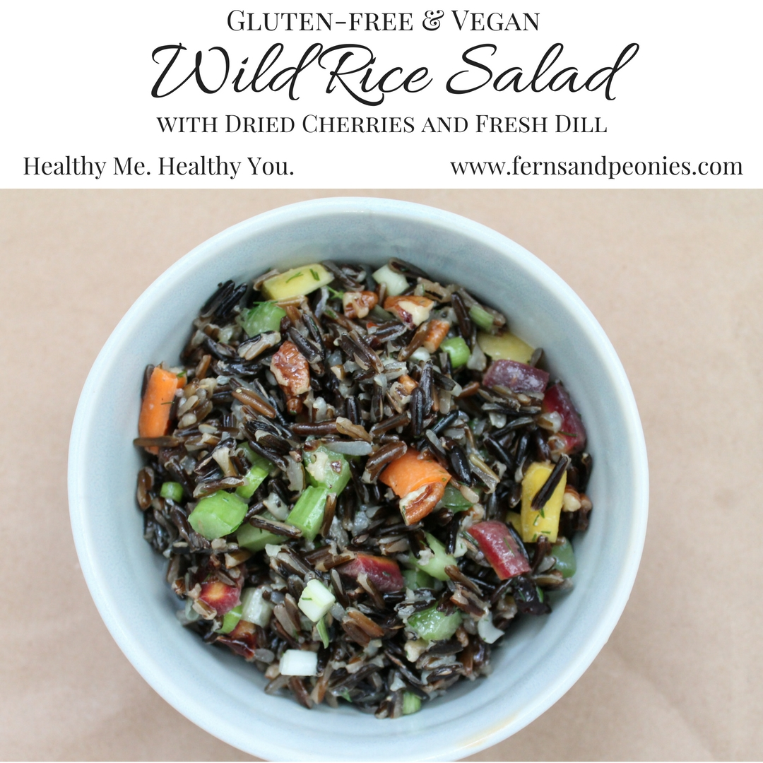 Gluten-free and Vegan Wild Rice Salad with Dried Cherries and Fresh Dill - find the recipe at www.fernsandpeonies.com