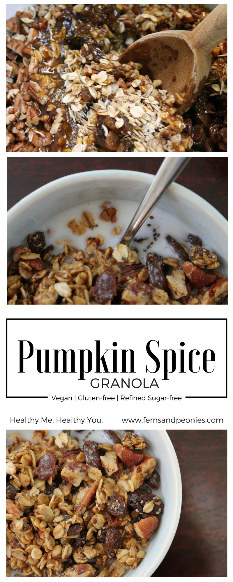 Vegan, gluten-free and refined sugar-free Pumpkin Spice Granola. A healthy alternative to feed your autumn flavor craving. Find this recipe and more at www.fernsandpeonies.com