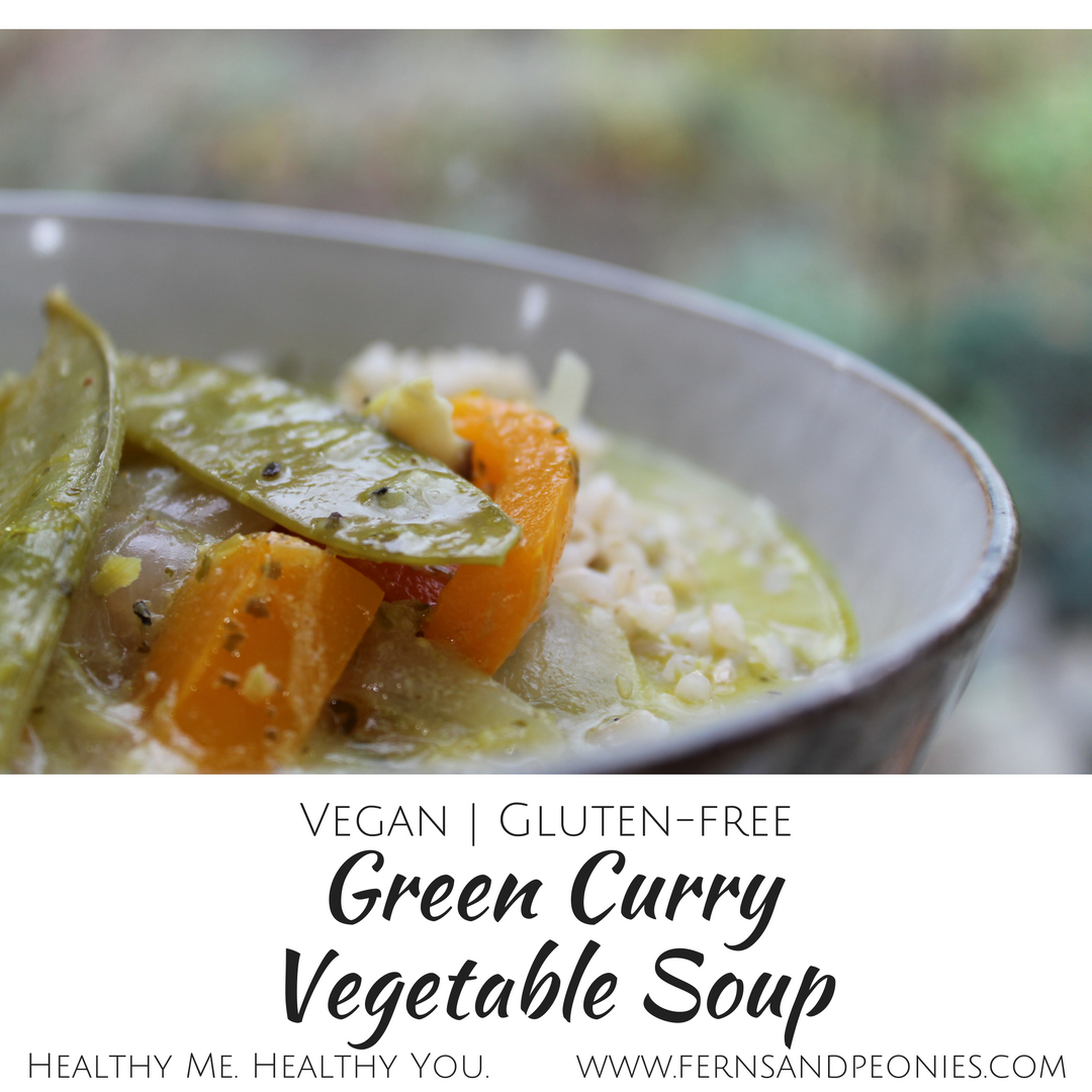 Vegan and gluten-free Green Curry Vegetable Soup with bonus homemade Green Curry Paste recipe! Find it and more at www.fernsandpeonies.com
