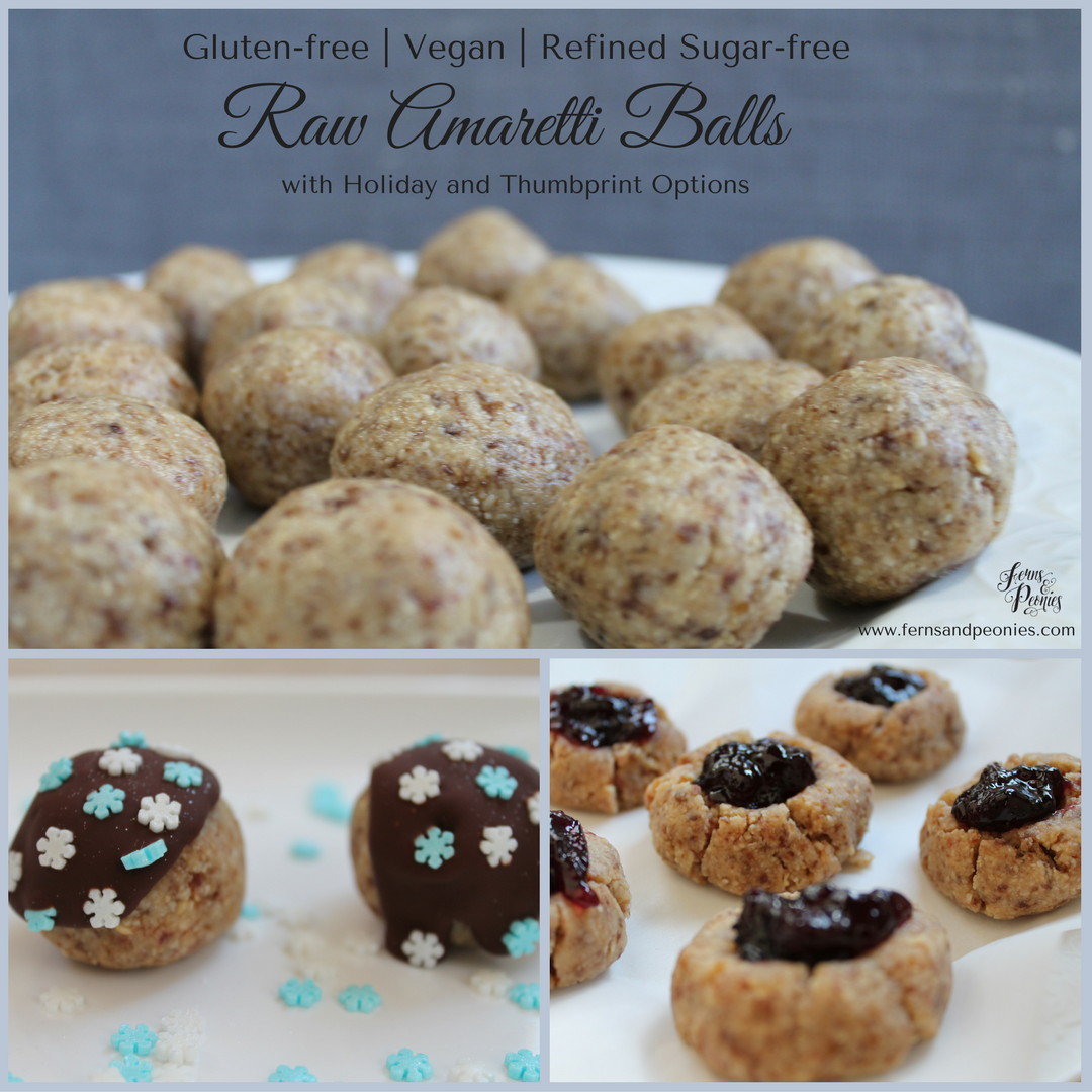 Raw Amaretti Balls with three options - try them deliciously plain, with chocolate drizzle, or as a thumprint with your favorite jam. Find this and more vegan and gluten-free recipes at www.fernsandpeonies.com