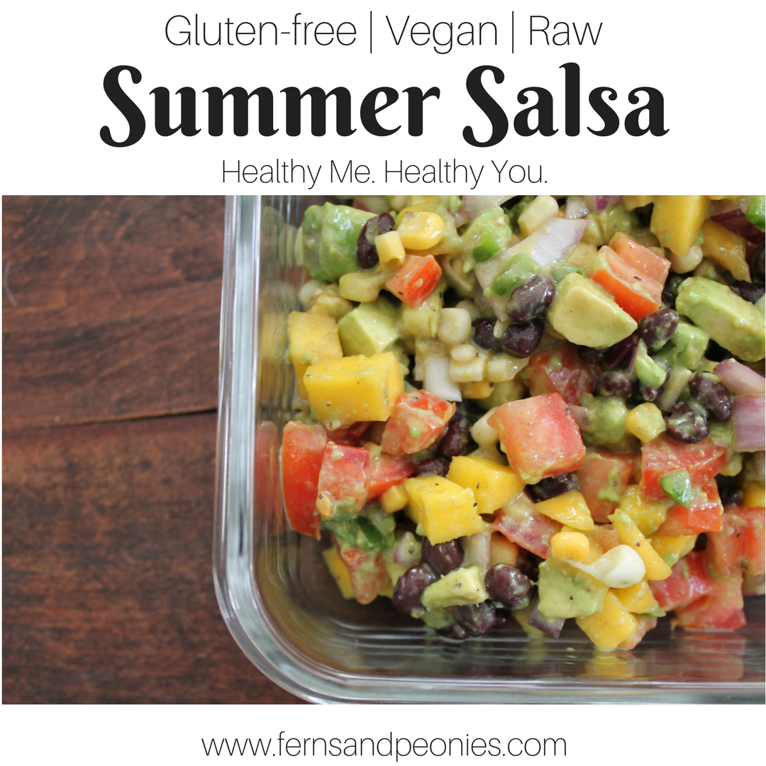 Summer Salsa - the beauty of fresh whole foods ingredients all wrapped up in one delicious salsa. Gluten-free, vegan and raw. Find it and more at www.fernsandpeonies.com