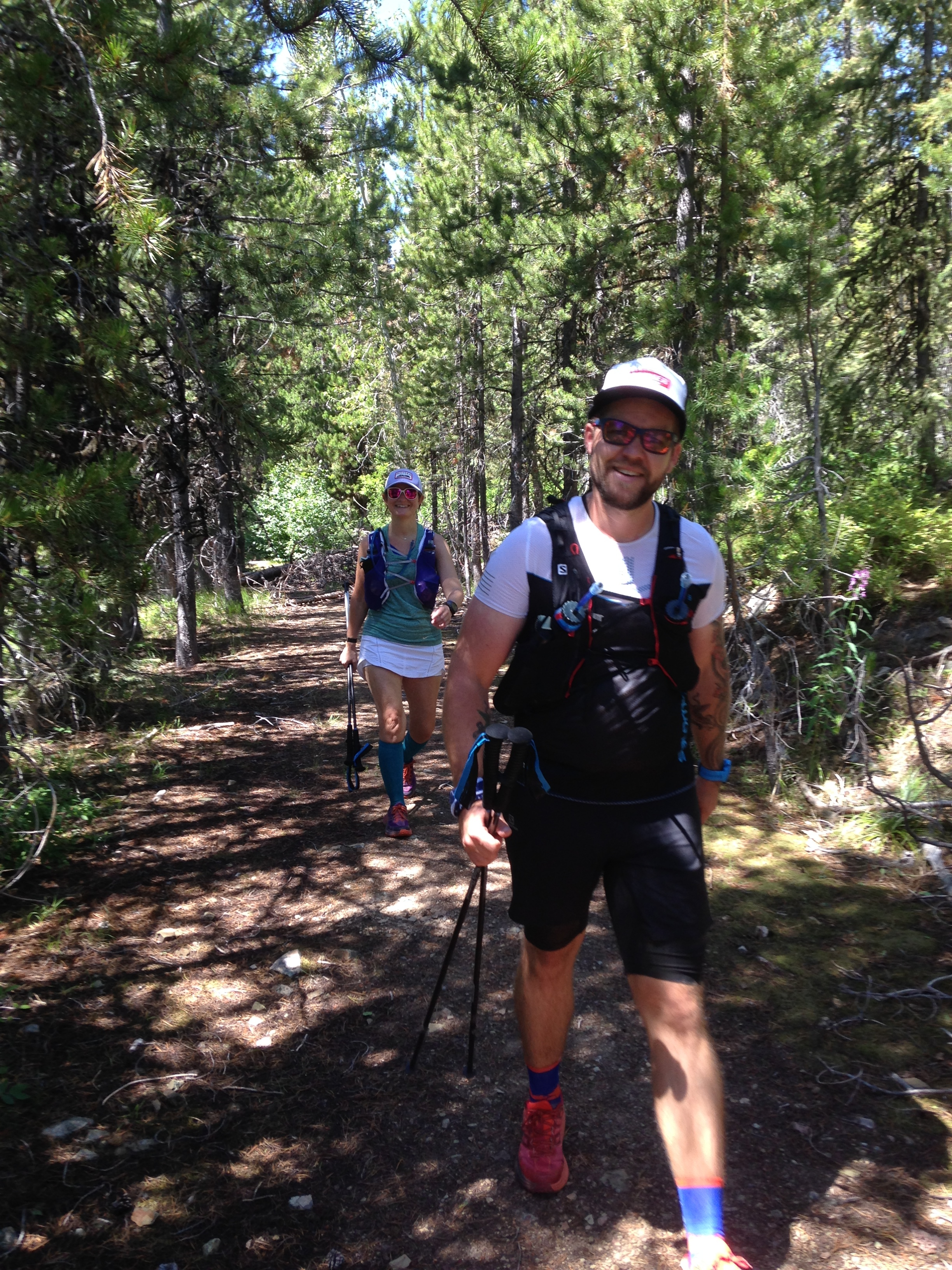 Sam and I coming into the halfway point at Sheep Mountain TH.