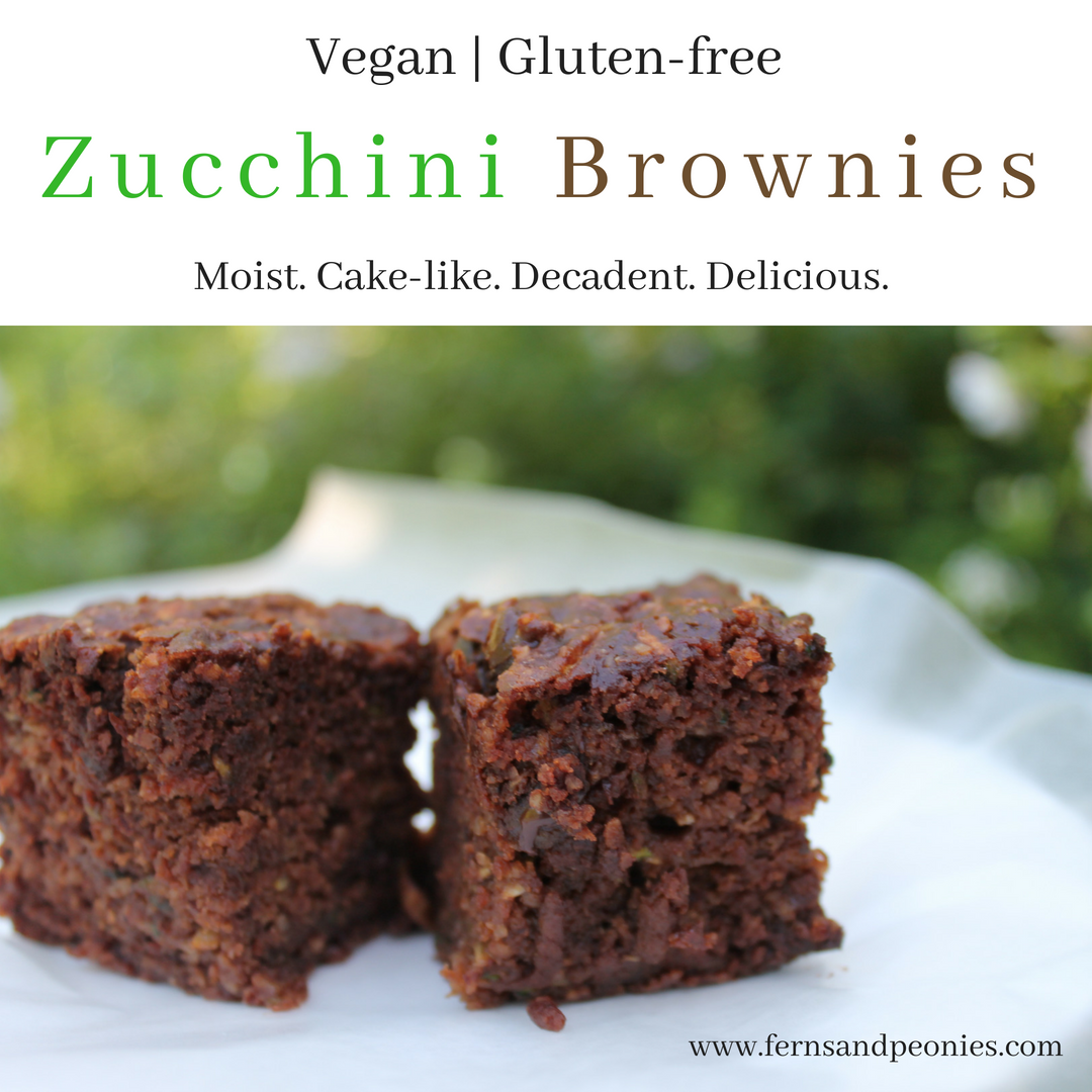 Moist and cake-like vegan and gluten-free Zucchini Brownies from www.fernsandpeonies.com
