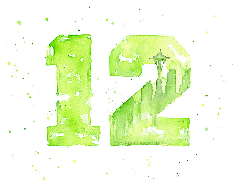 12th Man Fan Art, Number 12 with Seattle city scape and Space Needle silhouette. Art by Olga Shvartsur.