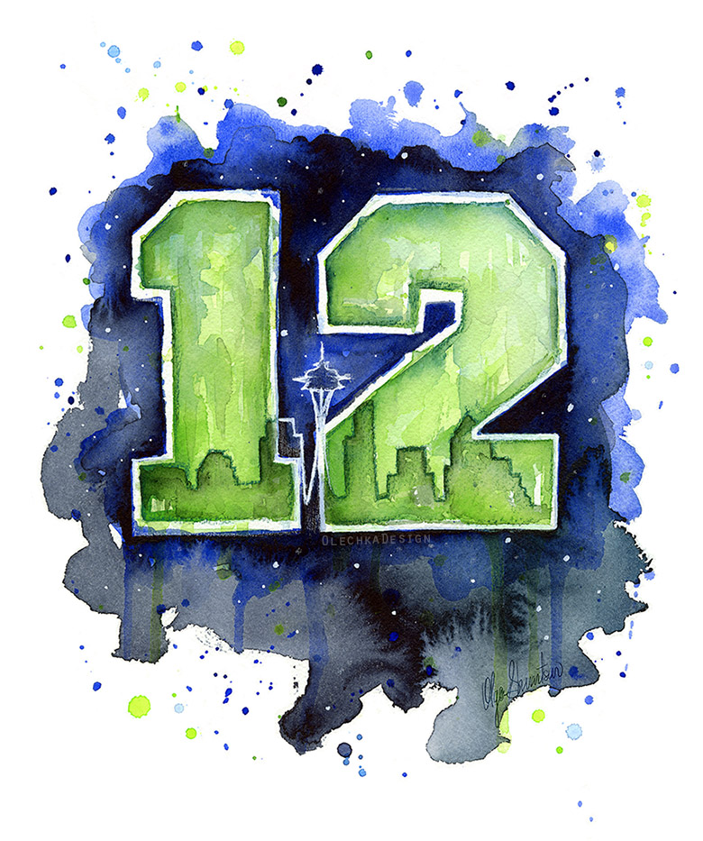 Seattle-Seahawks-Art-12th-man-watercolor-painting