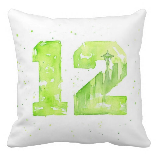 Seattle Pillow Watercolor 12th Man Painting