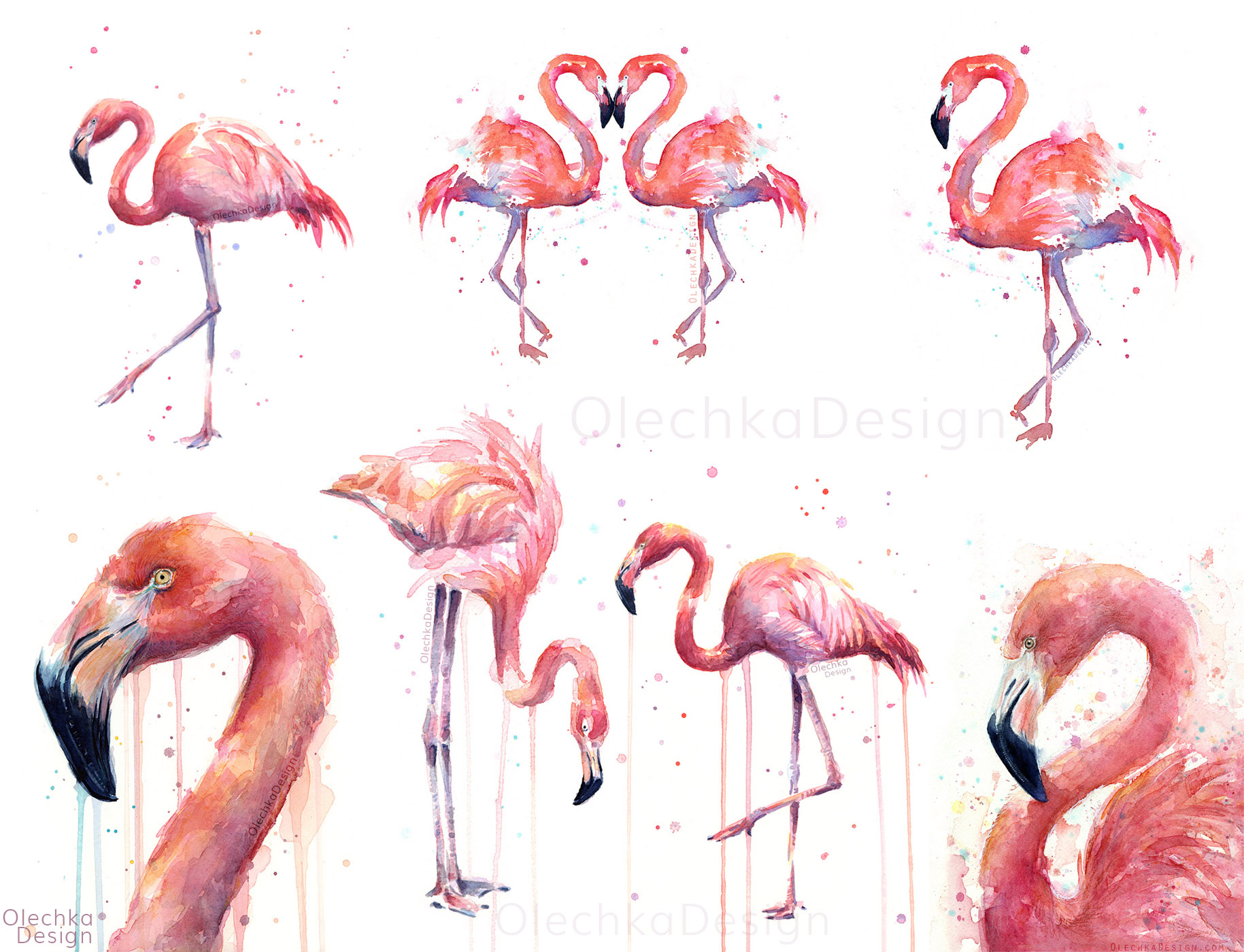 pink flamingos painting