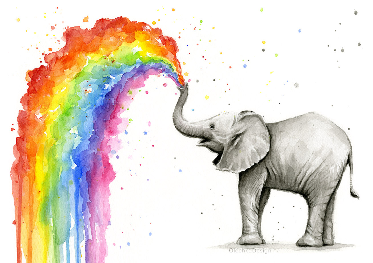 Adorable baby elephant spraying a colorful rainbow. Watercolor illustration by Olga Shvartsur.   Signed Prints   /   Home Decor & Accessories