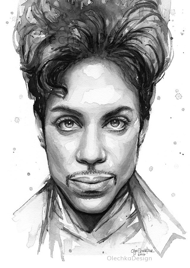 Black and White version of my watercolor painting of Prince.