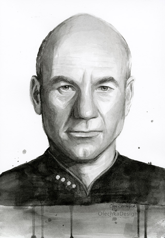 Captain Picard watercolor portrait
